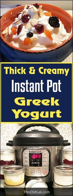 Thick Instant Pot Greek Yogurt is so simple to make. This creamy and smooth Greek Yogurt will save you so much money. Make some yogurt in 9 easy steps! via /thisoldgalcooks/