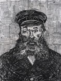 pen and ink   vincent's postman    Reminds me of the old man and the sea.