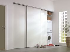 Sliding doors for utility room Laundry Cupboard, Utility Cupboard, Kitchen Cupboard Doors, Laundry Room Shelves, Laundry Room Cabinets, Laundry Closet, Laundry Room Design, Laundry In Bathroom, Small Bathroom