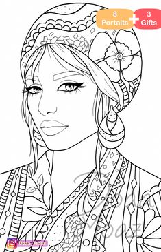 Adult coloring book 8 gray scale portraits coloring pages pdf printable anti-stress relaxing zentangle line art - Her Crochet Free Adult Coloring Pages, Cartoon Coloring Pages, Coloring Pages To Print, Colouring Pages, Coloring Sheets, Coloring Books, Zentangle, Doodle Coloring, Black Women Art