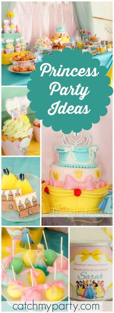 What a pretty princess party with all the Disney princesses! See more party ideas at CatchMyParty.com!