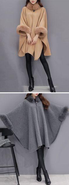 Newchic Online Shopping Women Elegant Faux Fur Cloak Coats with Turtleneck Winter Wear, Autumn Winter Fashion, Hijab Fashion, Fashion Outfits, Womens Fashion, Coats For Women, Clothes For Women, Faux Fur Hooded Coat, Leopard Print Coat