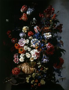 Still Life with Flowers in an Urn, Butterflies and a Snake ; Year: About 1660 Be Still, Still Life, Compton Verney, Old Master, Golden Age, Snake, Art Gallery, Old Things, Bouquet