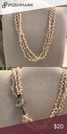 "💥REDUCED💥 Vintage Rice Pearl Necklace Three strands of faux rice pearl beads with a 925 sterling silver toggle clasp. Beautiful condition with a creamy luster! About 16.5"" long. Vintage Jewelry Necklaces"