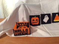Halloween Coasters with coaster box by Hitchingscrafts on Etsy, $7.00