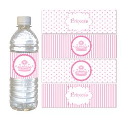 Printable Pink Polka Dots Stripes Princess Crown Water Bottle Labels Wrappers - Birthday Party Baby Girl Shower Wraps