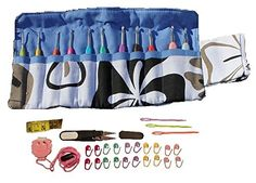 Sparkling PumpkinTM 38pcs Crochet Set - Ergonomic Crochet Hook Set with Multiple Accessories - Blue Floral Hook Case, Yarn Needles, Stitch Markers, Measuring Tape, Yarn Snips