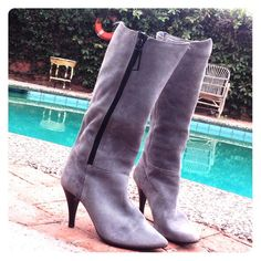 JAZZ GREY SUEDE BLACK ZIPPER STILETTO BOOTS Love love love these boots.  Made in Spain. Brand new heels the suede is in wonderful condition. Chunky plastic zippers have decorative metal pull pendants. Feelin funky, groovy or street smart ?  Then walk this way! ;) JAZZ Shoes