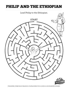 Acts 8 Philip and the Ethiopian Bible Mazes: Can your kids navigate each twist and turn of this Philip and the Ethiopian Bible Maze. Beautifully designed this Philip and the Ethiopian activity is perfect for your upcoming Act 8 Sunday school lesson. Sunday School Crafts For Kids, Sunday School Teacher, Sunday School Activities, Sunday School Lessons, Unique Coloring Pages, School Coloring Pages, Bible Coloring Pages, Preschool Bible Activities, Preschool Lessons