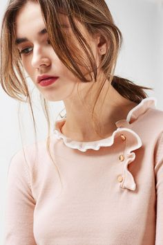 Pink Tipped Button Frill Knitted Top - Clothing- Topshop