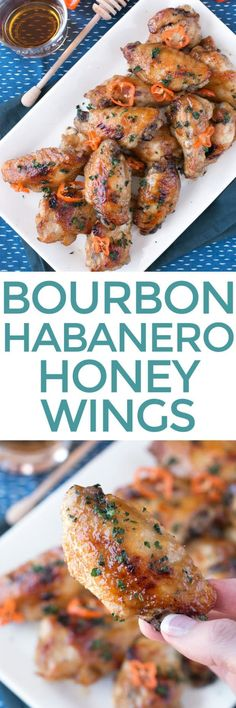 Bourbon Habanero Honey Chicken Wings are a sweet, spicy and boozy combo that is finger-licking G-O-O-D! These easy-to-make wings make any celebration more festive. Just make sure you have the napkins ready! | cakenknife.com #appetizer #recipe #snack