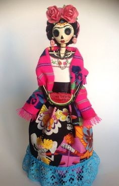 Viva la Vida Frida Catrina Paper Mache Doll. Day of por LaCasaRoja