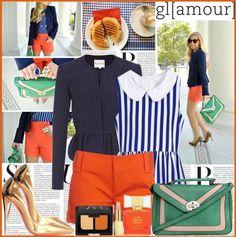 { orange shorts + blue pinstriped top }