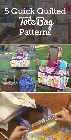 A great project to using your quilting skills on are tote bags! You can make them many different ways, finish them quicker than a quilt, and give them as gifts. We've compiled five of our favorite tote bag patterns here for you to try out.