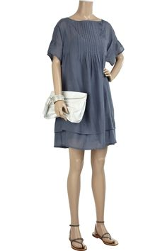 Vanessa Bruno Athé pleated silk and cotton-blend dress in blue, with asymmetric pintuck pleating and button-fastening placket.