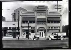 The See's Candies delivery motorcycle and van outside the store at 519 W. Washington in Los Angeles, 1931.