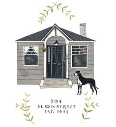 Hand-Painted House Portrait by Rebekka Seale, hifrienddesign.com