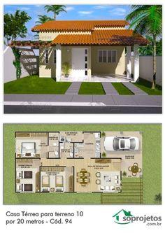 Esta casa térrea tem um modelo versátil, podendo se adaptar facilmente a qualquer terreno, com três quartos sendo uma suite. Com sala de estar jantar conjugadas, ótima cozinha, com área de serviço e varanda frontal.