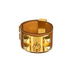 Pre-Owned Hermès Women's Bracelets ($1,995) ❤ liked on Polyvore featuring jewelry, bracelets, yellow jewelry, gold bangles, preowned jewelry, gold bracelet and gold jewellery