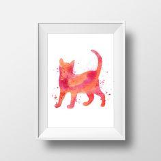 Cat poster Watercolor cat Girls room decor Cat art by RapidPrint