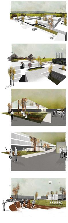 Photomontages and schemes realized for the studio Mansilla+Tuñón for the contest of the new facilities of the German College of Madrid (Deutsche Schule Madrid). Architecture Collage, Architecture Graphics, Architecture Visualization, Architecture Drawings, Architecture Portfolio, School Architecture, Architecture Design, Photomontage, Planer Layout