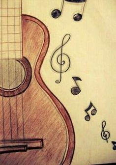 Resultado de imagen para dibujo de guitarra a lapiz drawing in 2019 рисунки, как рисовать Art Drawings Sketches Simple, Music Drawings, Girly Drawings, Pencil Art Drawings, Cool Drawings Tumblr, Drawing Art, Drawing Ideas, Music Doodle, Doodle Art