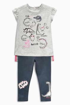 Buy Grey Dino Top And Leggings Set (3mths-6yrs) from the Next UK online shop