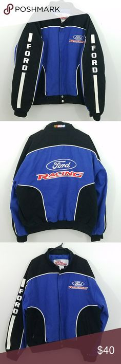 NASCAR Ford Racing Men's Jacket High quality, authentic NASCAR Ford Racing jacket in Men's size Large. Lettering is embroidered and sewn on.  100% Cotton Jackets & Coats