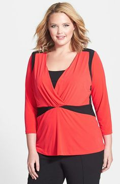 Anne Klein Colorblock Top (Plus Size) available at #Nordstrom