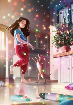 Anime Girl Drawings, Anime Art Girl, Girl Cartoon, Cartoon Art, Dog Illustration, Illustrations, Alone Art, Photo Images, Digital Art Girl