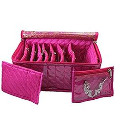 Kuber Industries Jewellery Kit With 10 Transparent Pouches (Pink): Amazon.in: Home & Kitchen