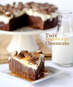 This Twix Brownie Cheesecake is fudgy, creamy, and full of caramel and candy!! Perfect party treat!!