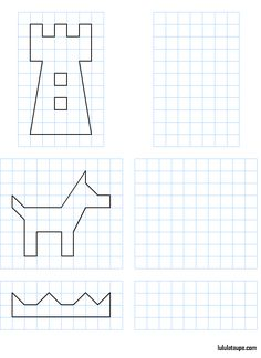 quadrets castell, gos i corona. Coding For Kids, Math For Kids, Childhood Education, Kids Education, Symmetry Worksheets, Free Printable Puzzles, Perspective Drawing Lessons, Maze Worksheet, Pixel Drawing