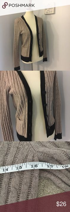 LOFT tan and black cable knit cardigan Size small. 16 inch bust when buttoned and 23 inch length. Perfect condition LOFT Sweaters Cardigans
