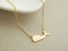 Cute gold plated whale pendant necklace, whale necklace, everyday jewelry, bridesmaid jewelry on Etsy, $13.50