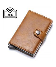 Men's Bags, Wallets, Business Card Credit Card Holder RFID Blocking Geniune Leather Vintage Aluminum - Brown - CG18I7THSR5   #Men #Fashion #Bags #Handbags #Style #Wallets Fashion Bags, Men Fashion, Leather Card Wallet, Men's Bags, Card Case, Business Cards, Wallets, Card Holder, Handbags