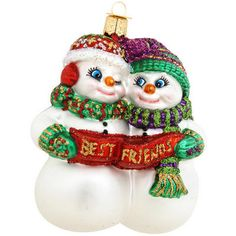"Your special pal is certain to appreciate our Best Friends snowmen ornament. Unfurling a banner reading Best Friends, this enchanting snowman duo measures 4"" tall. Exquisitely crafted of glass, this endearing ornament is painted with vivid glazes and sparkling glitter accents."