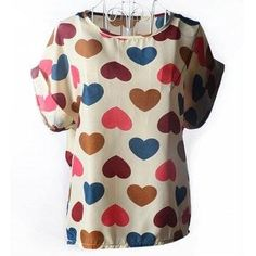 #DressLily - #Dresslily Scoop Collar Short Sleeve Heart Print Chiffon Blouse - AdoreWe.com