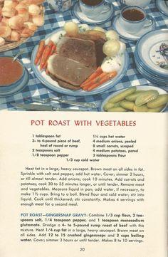 Vintage Recipes: Meat Recipes Part 1 Retro Recipes, Old Recipes, Vintage Recipes, Meat Recipes, Cooking Recipes, 1950s Recipes, Ethnic Recipes, Family Recipes, Vintage Cookbooks