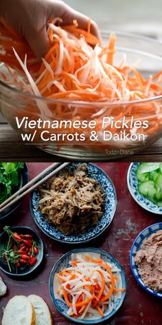 Homemade Vietnamese pickles are so delicious to make! Perfect for salads and sandwiches. Easy Vietnamese Recipes, Vietnamese Cuisine, Vegetarian Vietnamese, Vietnamese Sandwich, Easy Japanese Recipes, Vegetable Recipes, Vegetarian Recipes, Cooking Recipes, Healthy Recipes