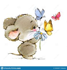 Illustration about Cartoon mouse watercolor illustration. Illustration of brown, card, background - 136354537 Mouse Illustration, Watercolor Illustration, Watercolor Art, Animal Drawings, Cute Drawings, Kitten Drawing, Classroom Art Projects, Butterfly Drawing, Cute Mouse