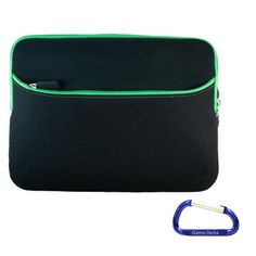 awesome Gizmo Dorks (Black with Green Trim) Dual Pocket Zipper Laptop Carrying Case Sleeve (Checkpoint Friendly) with Carabiner Key Chain for the Apple MacBook Pro (13.3 Inch Display)