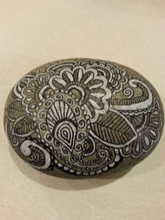 Zentangle Rock #2, black and white art, handpainted stone, hand painted rock, rock painting, gift for him, gift for her, home decor