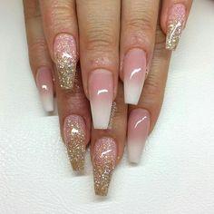 French Ombre med glitterombre i rosa och guld