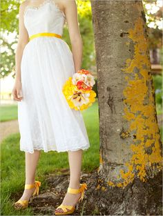 yellow shoes and wedding dresses