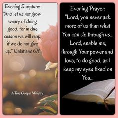 """Evening Scripture: """"And let us not grow weary of doing good, for in due season we will reap, if we do not give up."""" Galatians 6:9  Evening Prayer: """"Lord, you never ask more of us than what You can do through us... Lord, enable me, through Your power and love, to do good, as I keep my eyes fixed on You... #eveningscripture #eveningprayer #atruegospelministry #scripturequote #biblequote #instabible #instaquote #quote #seekgod #godsword #godislove #gospel #jesus #jesussaves #teamjesus #LHBK"""