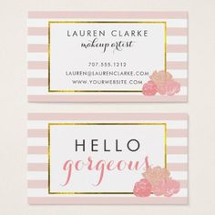 Makeup Artist Cards | Hello Gorgeous Double-Sided - elegant gifts gift ideas custom presents