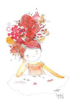 doll108, poupée melba, Cécile Hudrisier Illustration Mignonne, Cute Illustration, Watercolor Illustration, Watercolor Girl, Watercolor Paintings, Little Girl Illustrations, Inspirational Wallpapers, Cecile, Doodle Art