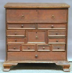 Oak Grain-painted Thirteen-drawer Chest, with secret drawer, ht. 32 in. Colonial Furniture, Antique Furniture, Furniture Ideas, Secret Compartment Furniture, Hiding Places, Diy Woodworking, Drawer, Period, Antiques
