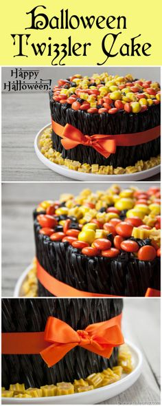 Twizzler Candy Cake How-To ~ A fun Halloween TWIZZLER CAKE topped off with yellow and orange candies!